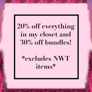 SALE 20% off everything and 30% off bundles!